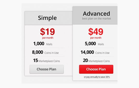Create a Pricing Table using Photoshop in about 20 Minutes