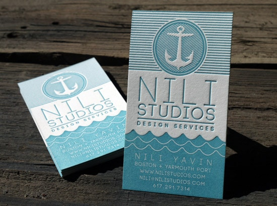 Nili Studios Nautical Letterpress Business Cards