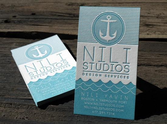 Nili Studios Nautical Letterpress Business Cards