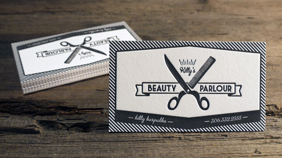 50 wickedly fantastic business card designs designrfix kittys beauty parlour letterpress business cards reheart Images