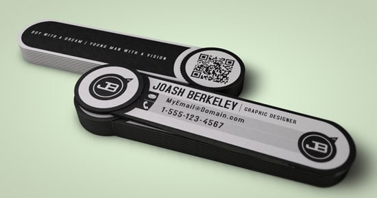 JB Business Card with Removable QR Code Snipet