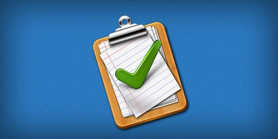 Tick mark approved clipboard Icon (PSD)