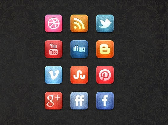 A Free Leather Social Media Icon Set