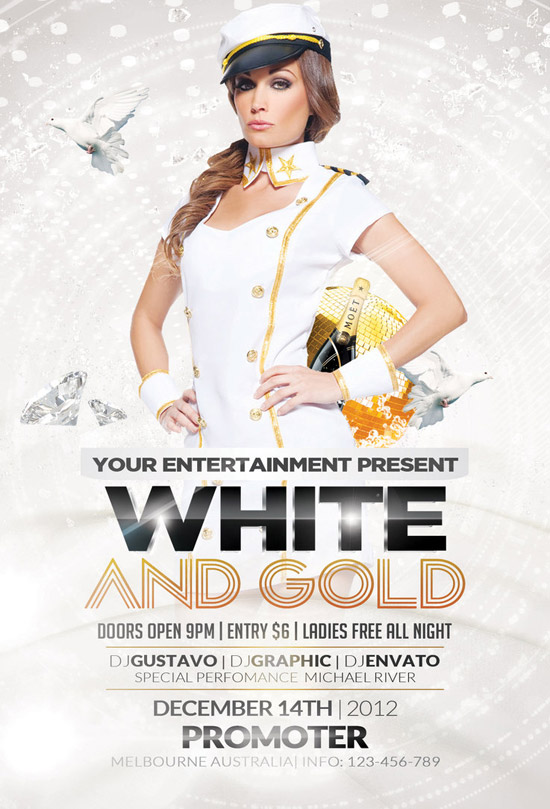 Free flyer templates download more than 30 wicked designs white and gold party free flyer saigontimesfo