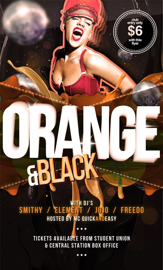 Black & Orange PSD Flyer Template
