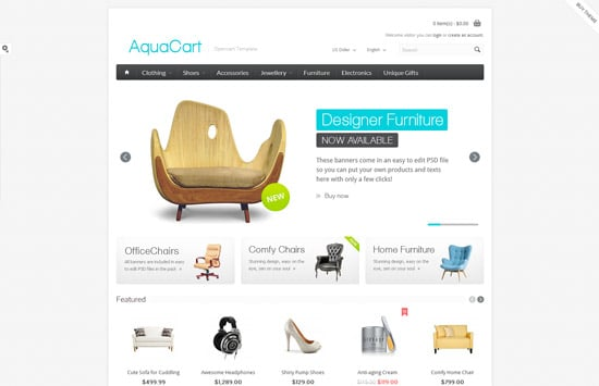 AquaCart - a Premium Responsive OpenCart Template