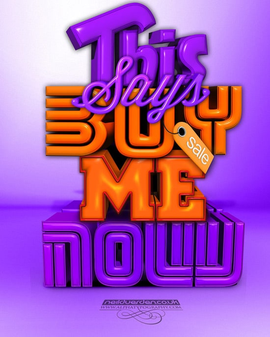Buy me now 3D typography