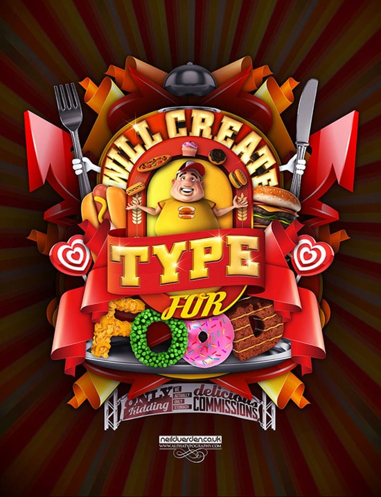 Will do 3d type for food poster