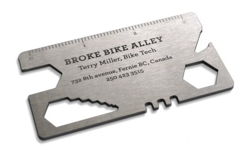 business card bike tool