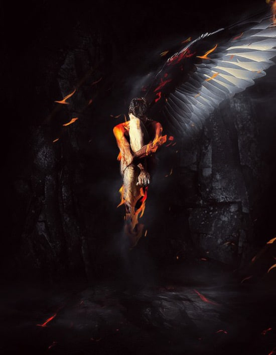 Design a One-Winged Fallen Angel Scene in Photoshop