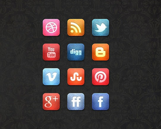 Free Leather Social Media Icon Set