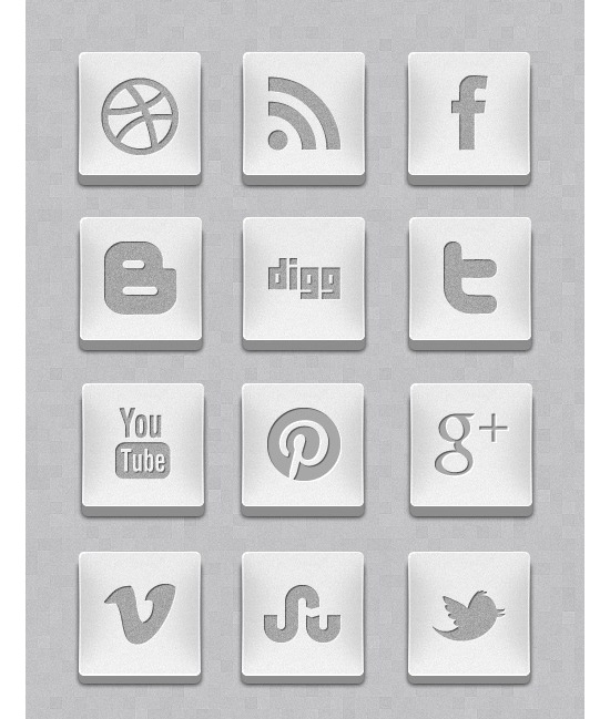 3D Silver Social Media Icon Set