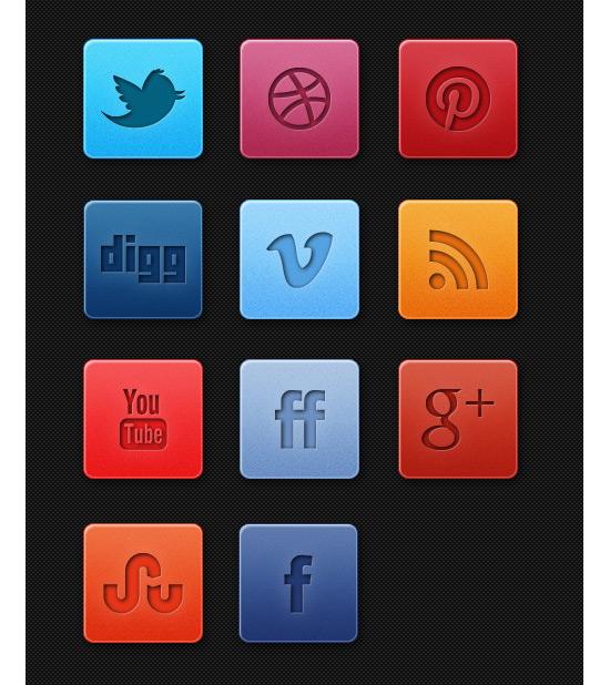 Fresh Subtle Social Media Icon Set