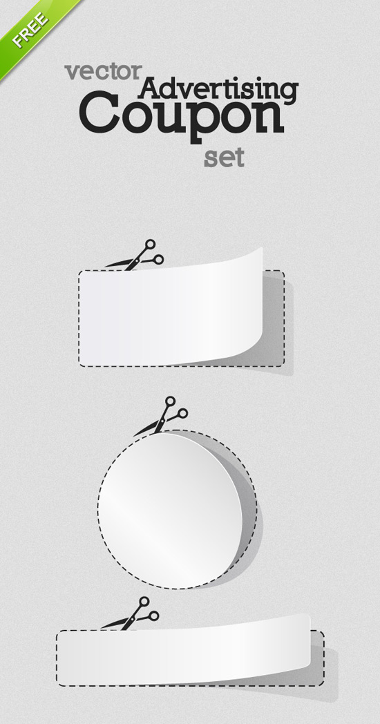 Free Vector Blank White Advertising Coupon