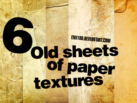 6 Old sheets of paper textures