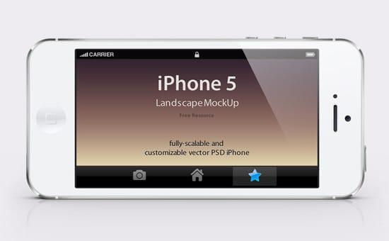iPhone 5 Psd Landscape Mockup