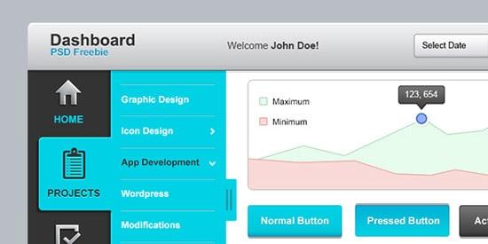 Dashboard UI Elements PSD Freebie