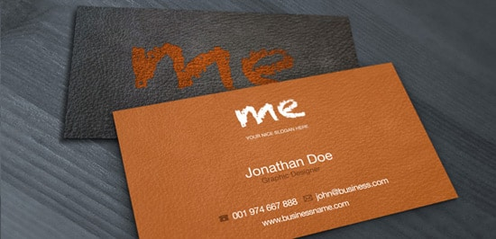 Leather Business Card – Free PSD Print Template