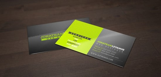 free corporate black and green business card template - 100 Free Business Cards