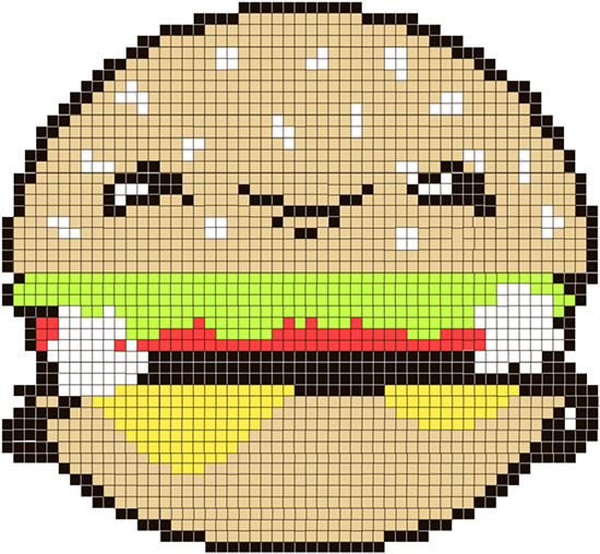 How to Create a Cute Burger Character & Then Turning It Into a Pattern for Cross Stitching