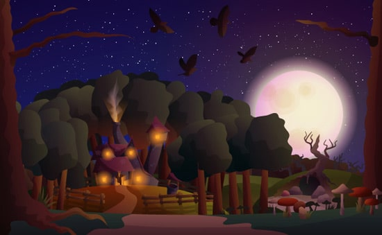 How to Create a Witch's House Scene with Gradients in Illustrator