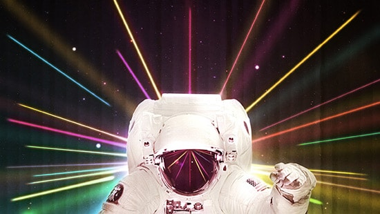 Create a Retro Spaceman in Lights and Lazers Wallpaper in Photoshop