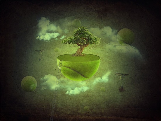 Create a Fantasy Floating Green Planet Scene in Photoshop