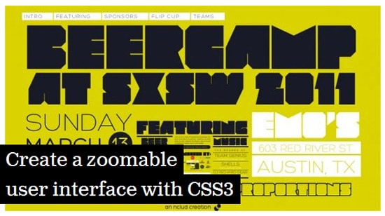 Create a zoomable user interface with CSS3