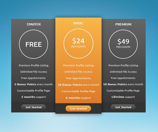 CSS3 Pricing Table