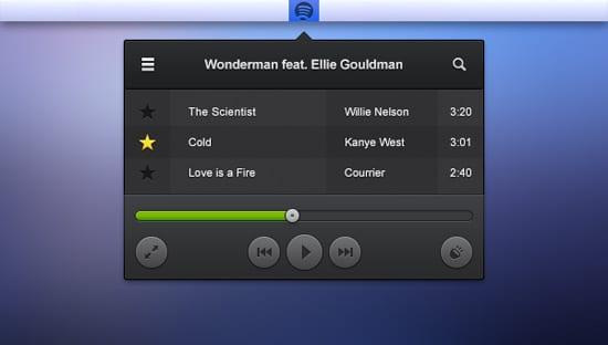 Spotify Audio Player Menu Bar Mockup
