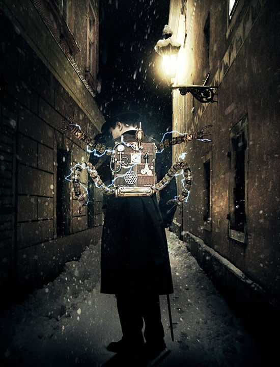 Photo Manipulate A Mysterious Steampunk Man in a Victorian Setting