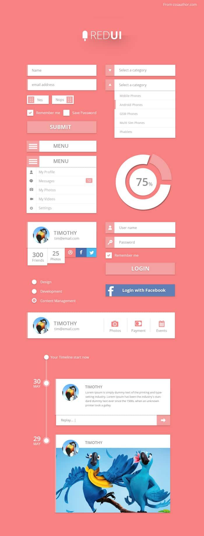 RED UI – User Interface Design Kit PSD