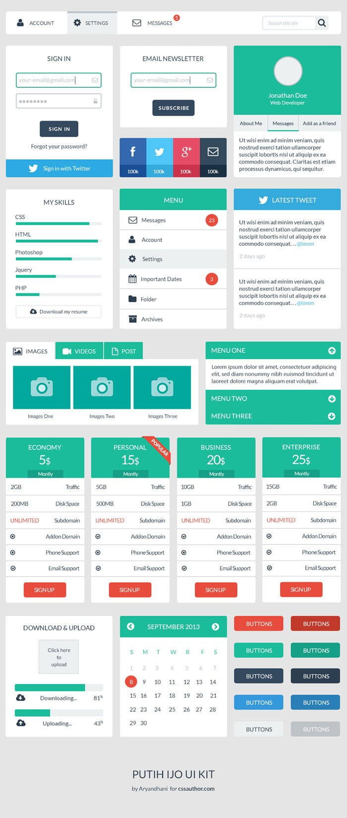 Beautiful Free Web User Interface Design Kit PSD