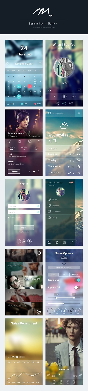 iOS 7 App Screens PSD