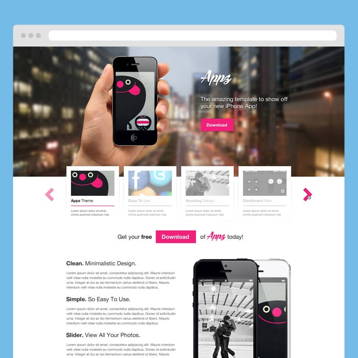 Appz PSD Theme: iPhone App Landing Page