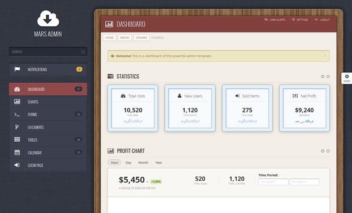 Mars - Responsive Admin Bootstrap 3 Template