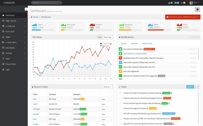 Conquer - Responsive Admin Dashboard Template