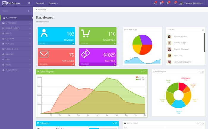 Flat Square Admin Template