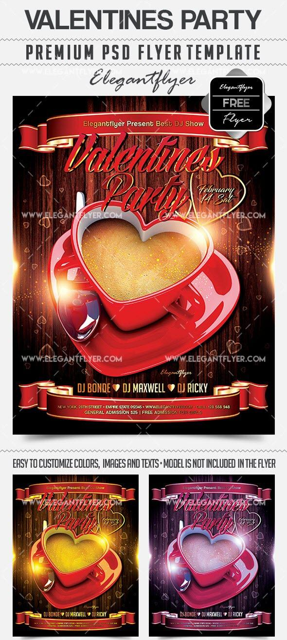 The Heart Shaped Cup Of Coffee Valentineu0027s Day Flyer PSD Template +  Facebook Cover
